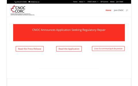 Screenshot of Home Page cnoc.ca - CNOC CORC Canadian Network Operators Consortium Inc. Consortium des Operateurs de Réseaux Canadiens Inc. - captured Dec. 13, 2018