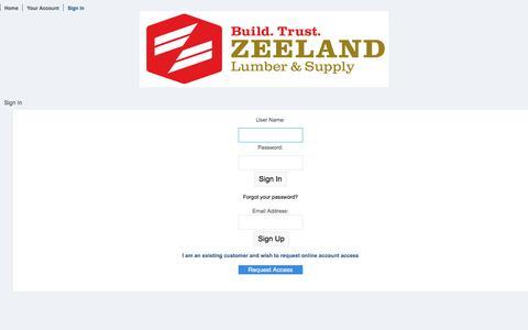 Screenshot of Login Page zeelandlumber.com - Sign In | Web Track - captured Aug. 9, 2019