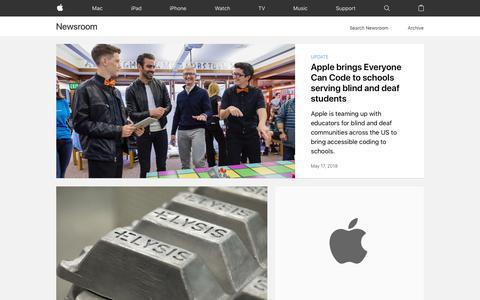 Screenshot of Press Page apple.com - Newsroom - Apple - captured May 21, 2018