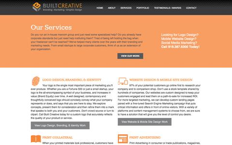 Screenshot of Services Page builtcreative.com - Built Creative - Services - captured Sept. 30, 2014