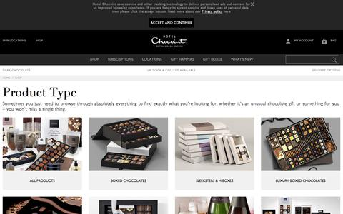 Screenshot of Products Page hotelchocolat.com - Browse Hotel Chocolat's full range of Chocolates & Gifts - Hotel Chocolat - captured Sept. 19, 2019