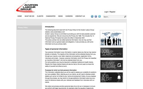 Screenshot of Privacy Page aviationlabour.com - Aviation Labour Group Privacy Policy   |  Recruitment Solutions for the Global Aviation Industry - captured Nov. 21, 2016