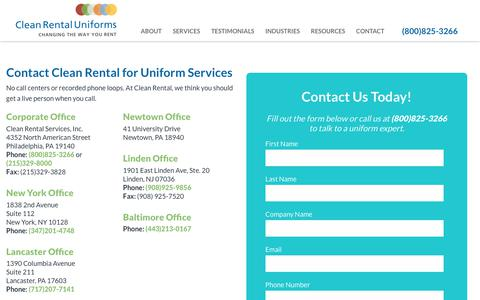 Screenshot of Contact Page cleanrental.com - Contact Us | Clean Rental Uniforms - captured July 19, 2018