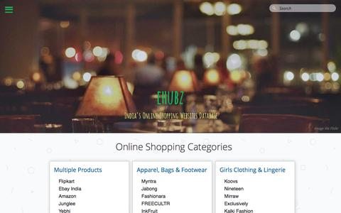 Screenshot of Home Page ehubz.in - India's Online Shopping Websites | ehubz.in - captured Feb. 19, 2016