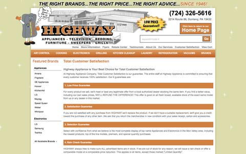 Screenshot of Testimonials Page highwayappliance.com - Appliances, TVs and Bedding in Dunlevy, Belle Vernon and Charleroi PA | Highway Appliance - captured July 15, 2016