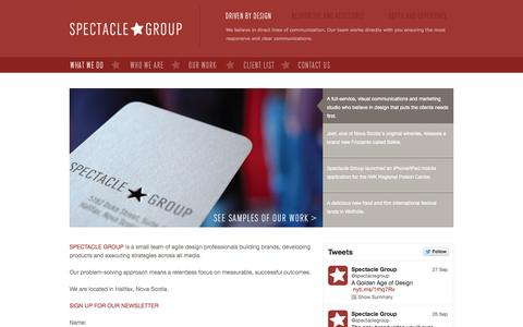 Screenshot of Home Page spectaclegroup.ca - Spectacle Group | Design, Advertising & Web | Halifax, Nova Scotia - captured Sept. 30, 2014