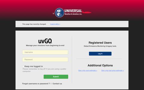Screenshot of Login Page universalweather.com - uvGO®   Login - captured Oct. 18, 2018