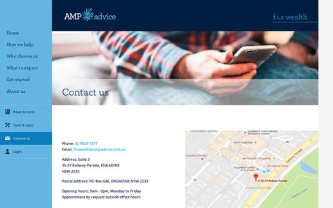 Screenshot of Contact Page amp.com.au - Contact Us - FIS Wealth - captured Nov. 25, 2016