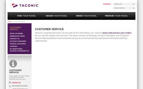 Screenshot of Support Page taconic.com - Customer Service | Taconic Biosciences, Inc. - captured Oct. 29, 2014