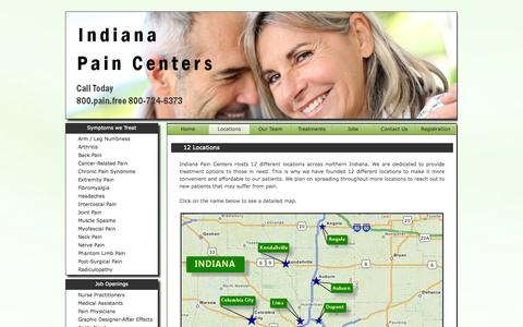 Screenshot of Locations Page indianapaincenters.com - Indiana Pain Centers -Pain Management- Locations - captured Oct. 2, 2014