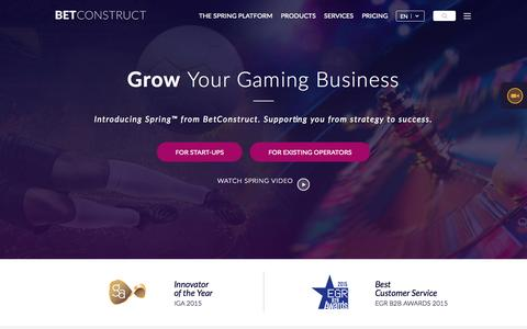 Screenshot of Home Page betconstruct.com - Online Gaming and Sports Betting Software | BetConstruct - captured Nov. 6, 2015
