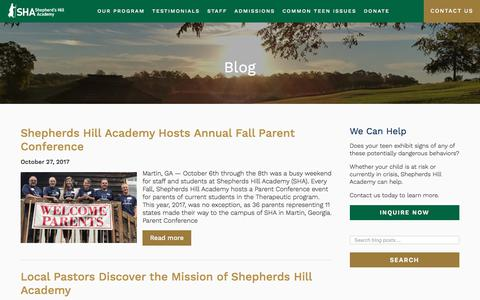 Screenshot of Blog shepherdshillacademy.org - Traceembry - A Christian Therapeutic Boarding School - captured Nov. 4, 2017