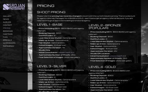 Screenshot of Pricing Page srdjan.com.au - Pricing - Srdjan Photography - captured Feb. 10, 2016