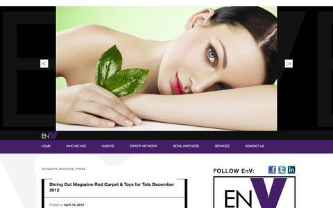 Screenshot of Press Page envconsultant.com - Press   EN V Consultant - captured Oct. 1, 2014