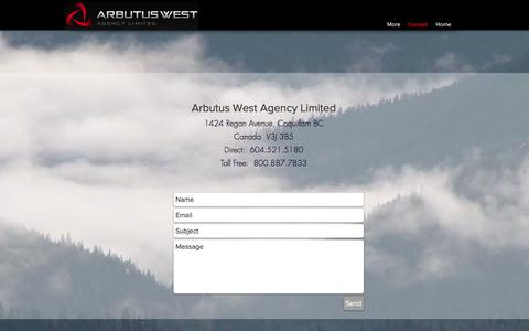 Screenshot of Contact Page arbutuswest.com - Contact   North America   Arbutus West Agency Ltd. - captured Oct. 8, 2017