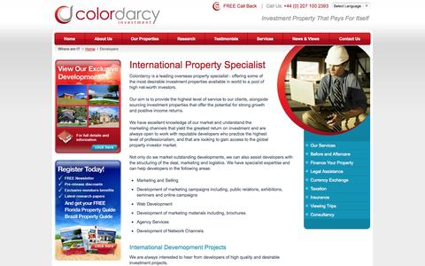 Screenshot of Developers Page colordarcy.com - Colordarcy is a leading international property specialist - captured Sept. 24, 2014