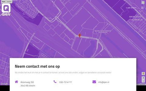 Screenshot of Contact Page qien.nl - Neem contact met ons op | Qien, ontwikkelaar van ontwikkelaars  - captured July 18, 2018