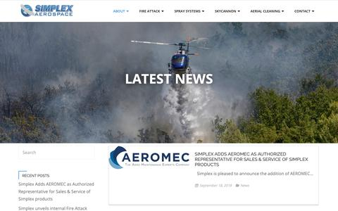 Screenshot of Press Page simplex.aero - News – Simplex Aerospace - captured Oct. 19, 2018