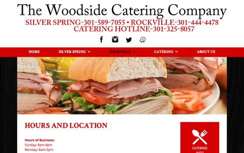Screenshot of Hours Page thewoodsidedeli.com - Hours and Location - The Woodside Catering Company - captured July 3, 2018