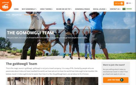 Screenshot of Team Page gomowgli.in - The goMowgli Team - captured Feb. 2, 2016