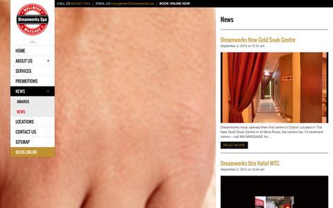 Screenshot of Press Page dreamworks.ae - Massage Service News | Dreamworks Spa in Dubai - captured Nov. 3, 2014