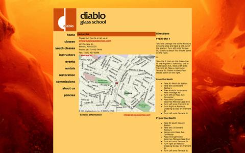 Screenshot of Contact Page Maps & Directions Page diabloglassschool.com - Diablo Glass School - Contact Us - captured Oct. 23, 2014