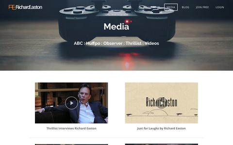 Screenshot of Press Page richardeaston.com - Media - Richard Easton - captured Oct. 22, 2017