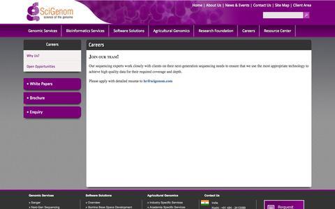 Screenshot of Jobs Page scigenom.com - Careers - captured Sept. 25, 2014