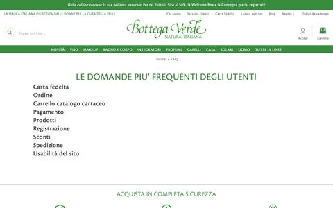 Screenshot of FAQ Page bottegaverde.it - Bottega Verde domande frequenti  | Bottega Verde - captured July 30, 2016