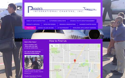 Screenshot of Maps & Directions Page peoplescharters.com - Peoples International Charters, Air plane charters services. - DIRECTIONS - captured July 22, 2017
