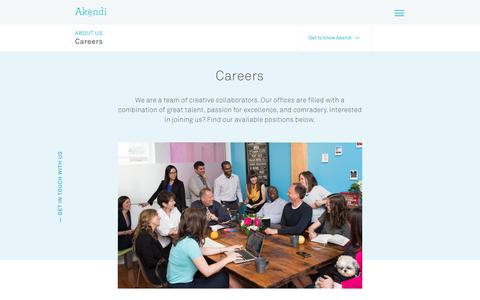 Screenshot of Jobs Page akendi.com - UX Design, Service Design Jobs, Akendi: Canada, UK - captured Sept. 13, 2018