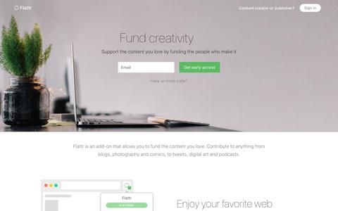 Screenshot of Home Page flattr.com - Flattr - captured May 3, 2017