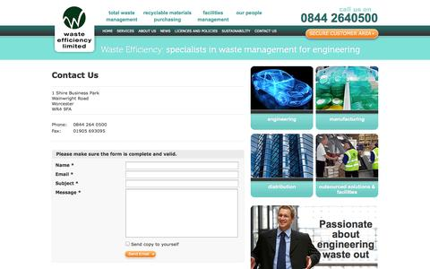 Screenshot of Contact Page wasteefficiency.co.uk - Contact Us - Waste Efficiency – specialists in waste management for engineering | Waste Efficiency – specialists in waste management for engineering - captured Oct. 7, 2014
