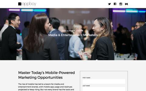 Screenshot of Landing Page appboy.com - Mastering Mobile Media Marketing | Appboy - captured Aug. 10, 2017