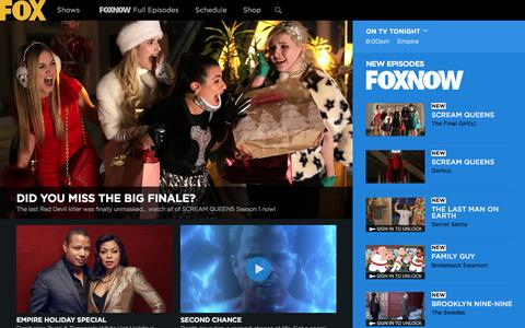 Screenshot of Home Page fox.com - FOX Broadcasting Company | Full Episodes, Shows, Schedule - captured Dec. 9, 2015