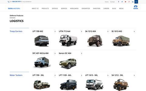 Screenshot of Products Page tatamotors.com - Defence - Logistics | Tata Motors Limited - captured Dec. 17, 2016