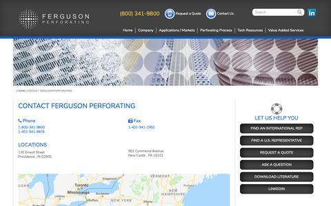 Screenshot of Contact Page fergusonperf.com - Contact Ferguson Perforating - Ferguson Perforating - captured Oct. 10, 2018