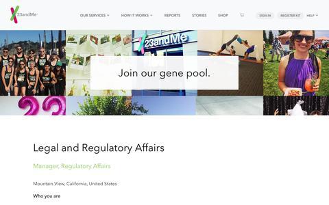 Screenshot of Jobs Page 23andme.com - Manager, Regulatory Affairs – 23andMe Careers - captured May 22, 2018