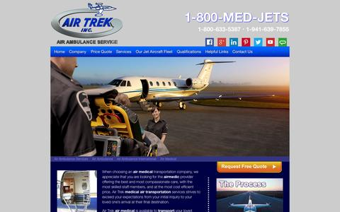 Screenshot of Home Page air-medical.co - Air Medical service from AirTrek, Inc. - Air Ambulance - captured Sept. 10, 2015