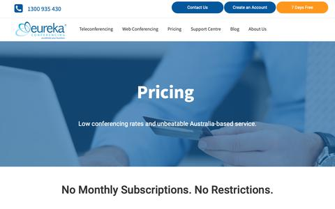 Screenshot of Pricing Page teleconference.com.au - Low Rate Conference Calls | Eureka Conferencing - captured March 28, 2019