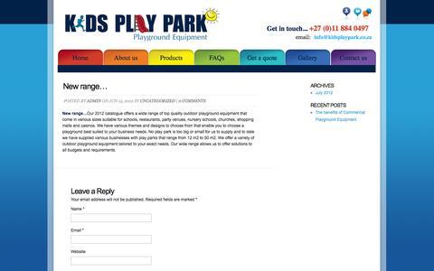 Screenshot of Press Page kidsplaypark.co.za - New range… - captured Oct. 6, 2014