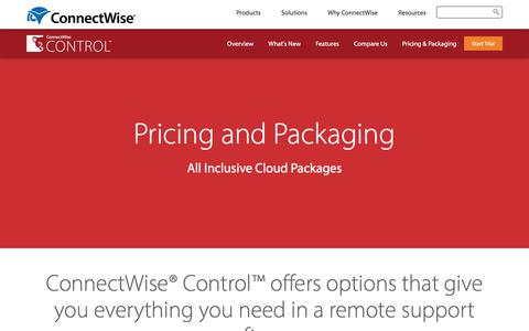 Screenshot of Pricing Page connectwise.com - ConnectWise Control Pricing | Remote Access Tool - captured March 3, 2018