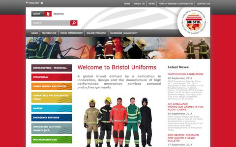 Screenshot of Home Page bristoluniforms.com - Welcome to Bristol Uniforms | protecting the worlds firefighters | Bristol Uniforms - captured Sept. 23, 2014