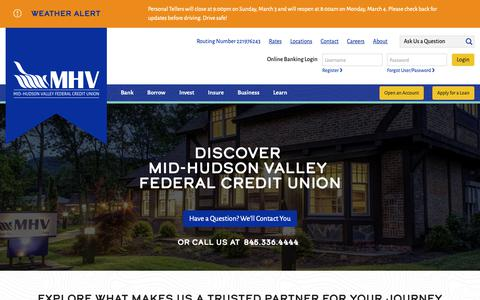 Screenshot of About Page mhvfcu.com - About - Mid-Hudson Valley Federal Credit Union - captured March 4, 2019