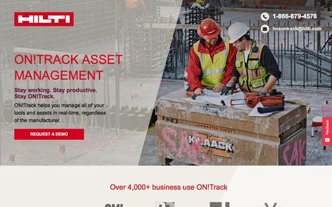 Screenshot of Landing Page hilti.com - ON!Track Tool Tracking And Asset Management - captured Sept. 2, 2017