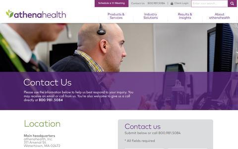 Screenshot of Contact Page athenahealth.com - Contact Us | athenahealth - captured April 10, 2017