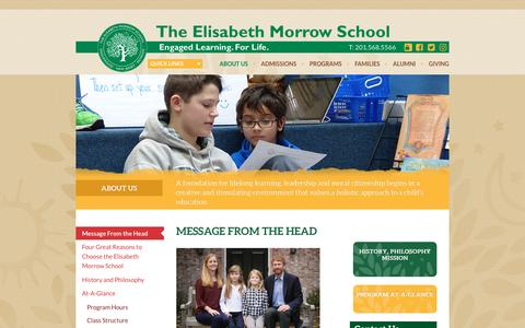 Screenshot of About Page elisabethmorrow.org - Message From the Head - Elisabeth Morrow School, The - captured Dec. 14, 2016