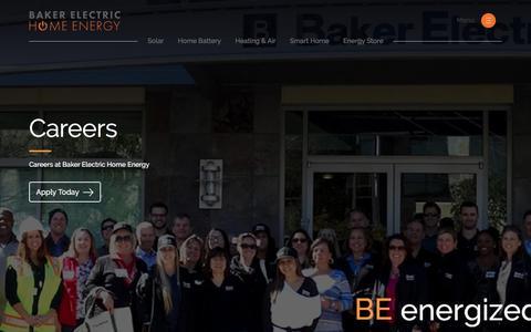 Screenshot of Jobs Page bakerhomeenergy.com - Solar and Energy Storage Job Openings - captured May 1, 2018