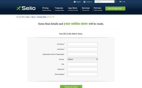 Screenshot of Trial Page xselio.com - xSelio eCommerce Solution - eShop Free Trial - captured Feb. 23, 2016