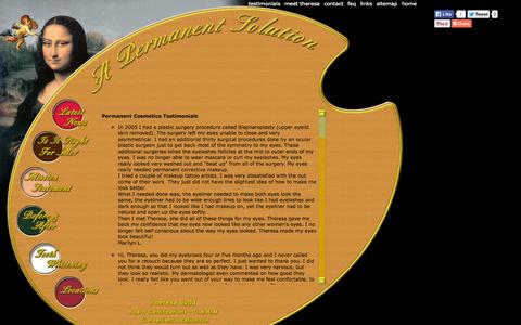 Screenshot of Testimonials Page permanentcosmeticsbytheresa.com - Permanent Cosmetics by Theresa Customer Testimonials - captured Oct. 2, 2014